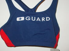 Speedo Navy Blue Red LIfeguard Bikini Top Swimsuit Endurance Lite-S-NEW $34.