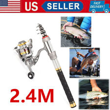 2.4M Saltwater Freshwater Telescopic Fishing Rod With Reel Combo and Bag Set Usa