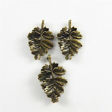 10pcs Antique bronze Crafts jewelry leaf Shaped pendant findings 02377