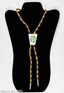 Vintage Mid Century Bolo Tie Modern Look Inverted Trapezoid Base W/ Gr Gemstone