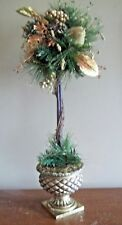 "24"" Gold Sugared Fruit frosted Ball round Kitchen mantle Topiary christmas pine"