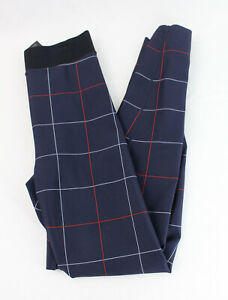 Ultracor Women's Navy Blue Red White Plaid Athletic Legging Size XS