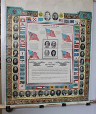 1969 USA Presidents School Poster Nixon Term with Double Sided World Map Flags