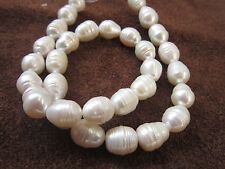 "perfect 10-11mm AAA+ Akoya white baroque pearl Loose Beads 13.5"" AAA"