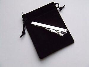 Silver Tie Clip - Black Velvet Gift Pouch - UK Seller