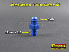 Russell 6 AN Male to 12mm x 1.5 Metric Male Adapter (blue)