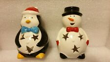 PENGUIN AND SNOWMAN CERAMIC CANDLE TEA LIGHT HOLDERS.