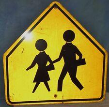 Vtg Crosswalk/People Crossing Used Aluminum Street/Road Sign 24 x 24 S400
