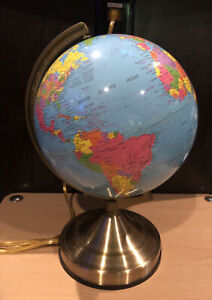 World Globe Touch Lamp Electric Vintage Working 3 light settings
