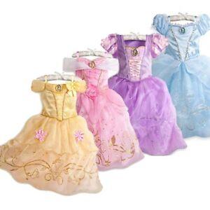 Kids Princess Fancy Costume Tangled Belle Sleeping Beauty Halloween Dress