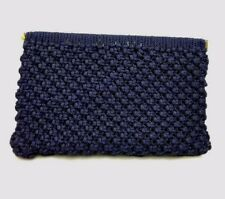 Vtg Jute Rope Macrame Clutch Purse Navy Blue Gold Frame Retro 60s 70s 80s Rodo?