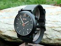 Black Chronograph Quartz Mens Skmei Watch Mesh Metal Strap Date Display