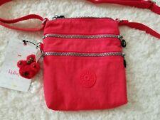 Kipling Alvar XS Crossbody Messenger Bag Bright Cardinal Red Monkey Keychain NWT