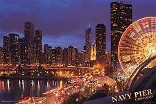 CHICAGO - NAVY PIER POSTER - 24x36 NIGHT LIGHTS CITY 10835