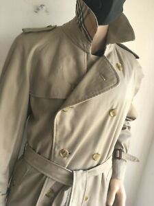 BURBERRY MENS XL LARGE 44-46 DOUBLE BREASTED TRENCH COAT RAINCOAT JACKET MAC