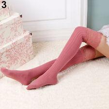 FM- AC_ EG_ Women Knitting Lace Cotton Over Knee Thigh Stockings High Socks Tigh