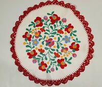 Vtg Embroidered Flower Linen Doily Crochet Border Bright Bold Mexican Handmade