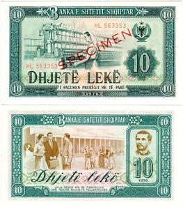 Albania 10 Lekë P#43s (1976) Banka e Shtetit Shqiptar SPECIMEN Mint UNC