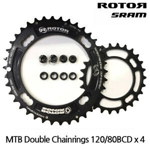 ROTOR MTB QRINGS OVAL CHAINRINGS - QX2-DOUBLE - 120/80BCD - FOR SRAM XX