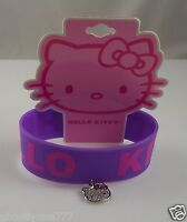 Hello Kitty Pink rubber with dangle charm bracelet  purple