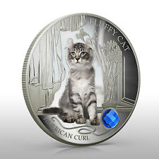 Fiji 2013 Fluffy Cat  AMERICAN CURL Dogs & Cats 1 Oz Proof Silver Coin