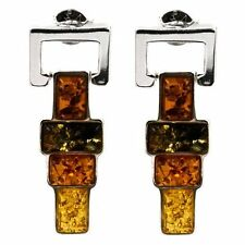Multicolor Amber Sterling Silver Totem Rectangular Stones Earrings