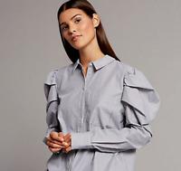 M&S Ladies Blouse Blue Striped Puff Sleeve Shirt 8 BNWT Marks Autograph
