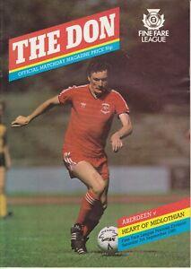 Aberdeen Home Programmes Season 1985-1986