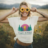 Women's Take a Hike Top Letters Funny Tee Cotton Short Sleeve Blouse T-Shirt