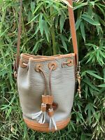 Genuine vintage DOONEY & BOURKE taupe tan leather bucket drawstring bag