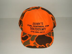VINTAGE LEIBY'S TAXIDERMY FUR FEATHER FIN HUNTING CAMO FULL FOAM SNAPBACK HAT