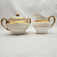 Minton Creamer Sugar Bowl w Lid Bone Gold Ivory China Buckingham K159 pattern