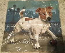 Jack Russel Terrier Tapestry Tan Pillow Cover  17 inches