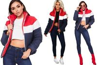 Colour Block Jacket Quilted Padded Contrast Puffer Warm Thick Ladies Coat Womens