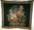 Vintage Italian Woven Floral Bouquet on Column w/ Decorative Border Tapestry