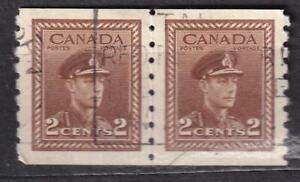 Canada used: 1942 KGVI 2¢ War Issue coil pair, sc#264