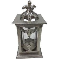 Laterne Windlicht Krone XXL Bodenlaterne Metall silber 45 cm Shabby Vintage Look