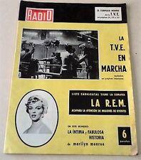 """MARILYN MONROE:VINTAGE SPANISH MAGAZINE UNIQUE COVER-""""CORREO de la RADIO"""" 1959!!"""