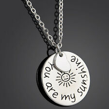 You Are My Sunshine Words Letters Pendant Necklace Trendy Jewlery Chain Gift