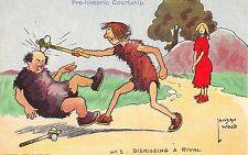 POSTCARD  COMIC  PRE-HISTORIC Courtship   Dismissing  a Rival     LAWSON  WOOD