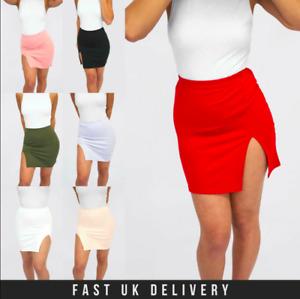 New Womens Ladies High Waisted Plain Split Bodycon Tube Pencil Short Mini Skirt