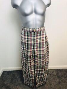 Polo Ralph Lauren 100% Cotton Mens Check Trousers Size 30W 30L Cream,Red & Green