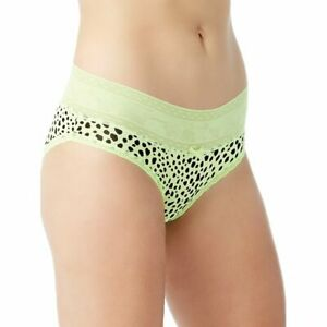 No Boundaries Women's Microfiber Bikini Panties Size SMALL Green Animal Print