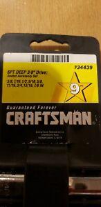 "Craftsman 9 piece SAE 6 point deep socket 3/8"" drive"