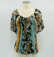 DvF Peasant Top Blouse 100% Silk Womens 4 Blue Black Diane von Furstenberg