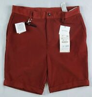 Zara Men's Burgundy 4 Way Stretch Knit Cuffed Shorts Size 30 New