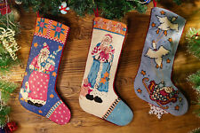Pretty Hand Crafed Needlepoint Christmas Stocking Decoarted Busy Santa Clause