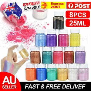 New 8x Pigment Powder Mica Epoxy Resin Dye Pearl Natural Mica Mineral Set AU