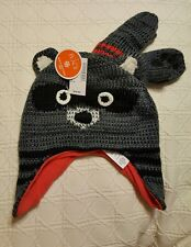 NWT Racoon Lined Knit Hat and Mittens Size S 12 - 24 Mths The Children's Place