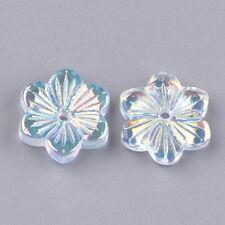 10 Transparent AB Coated Glass Flower Beads (E5)